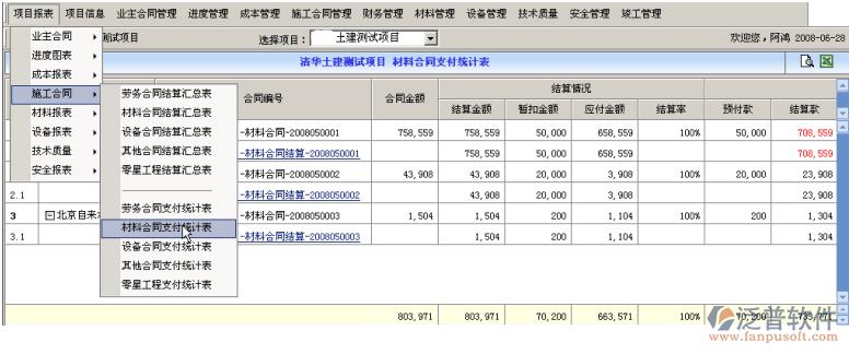 施工员工作情况_工程项目合同结算支付统计表_工程管理系统_泛普软件